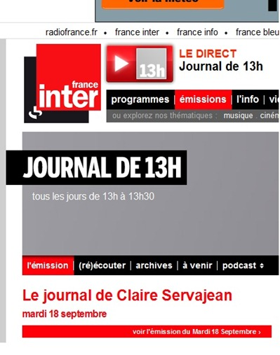 13 oras de France Inter 18 de setembre 2012