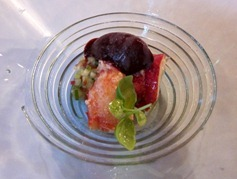 Our famous chilled gazpacho with lobster and Cherry sorbet