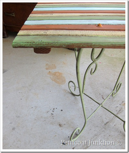 painted multi-color upcycled table