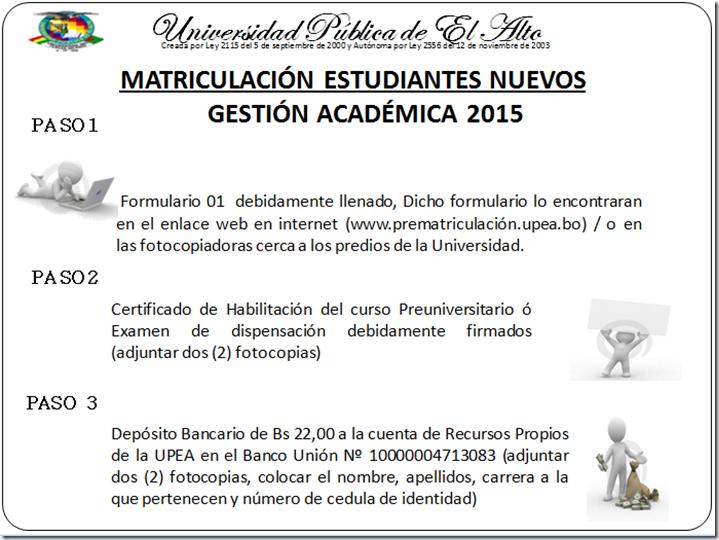 Matriculación UPEA 2015