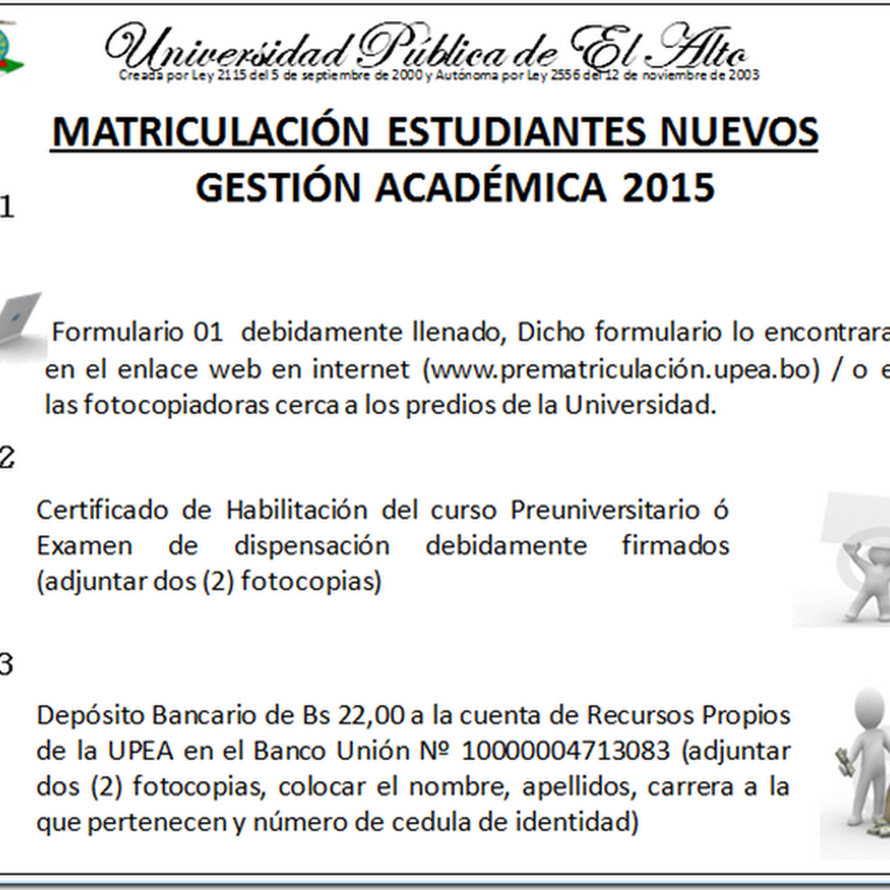 Matriculación UPEA 2015: Estudiantes nuevos