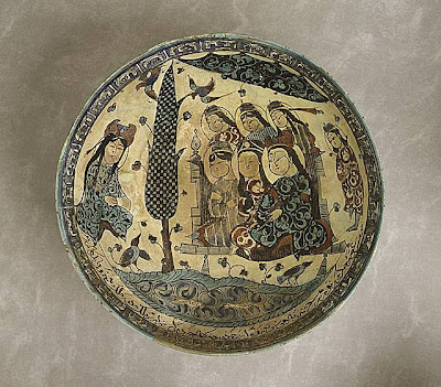 Bowl Iran, Kashan Bowl, 1187/Muharram, 538A.H. Ceramic; Vessel, Fritware, underglaze-painted and overglaze-enameled (mina'i), overall: 3 3/8 x 8 3/8 in. (8.57 x 21.27 cm) Gift of Mr. and Mrs. Allan C. Balch (M.45.3.116) Art of the Middle East: Islamic Department.