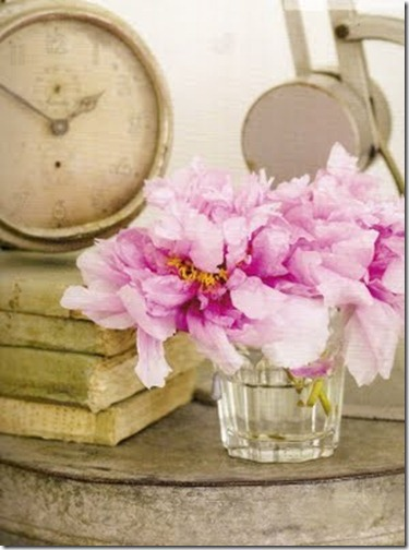 pale pink peonies in water glass