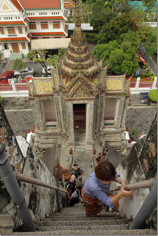 Steep climb to Wat Arun