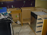 The cabinets, plumb and level, which was a challenge with our sloped floor and bowed walls