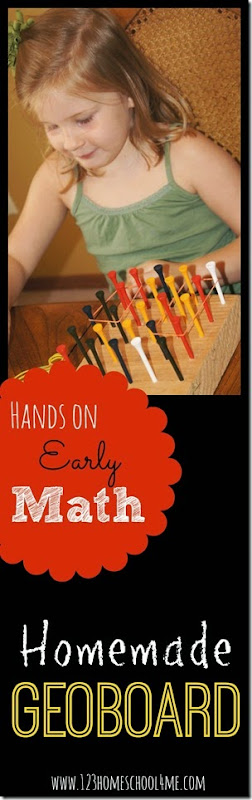 Cool Math Games - Homemade Geoboard  for Early Math for Toddler, Preschool, and Homeschool Kindergarten
