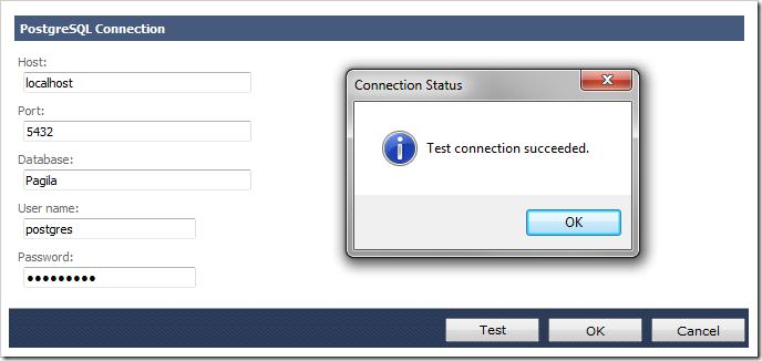 Successful test of PostgreSQL connection string.