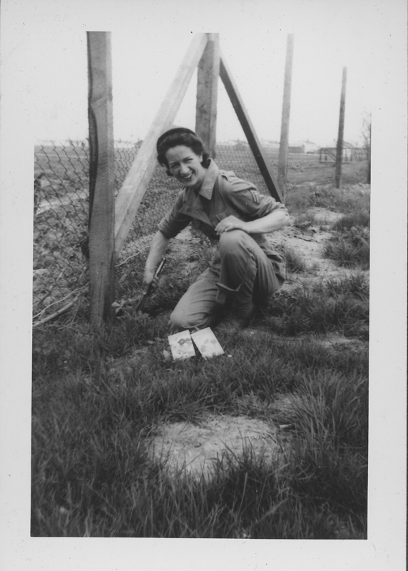 Women's Army Corps (WACS) servicewoman Jeanne Shankland plants a garden at Patterson Field. Spring 1944.