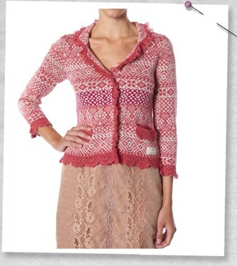 #649 Elouise cobell cardigan vintage rouge
