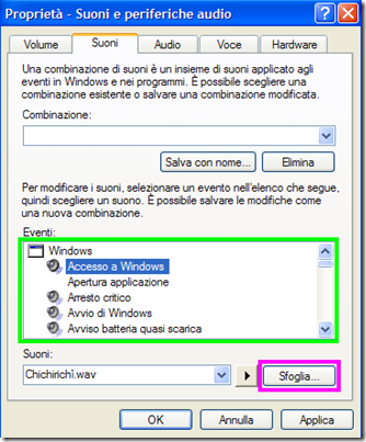 Proprietà audio Suoni Windows