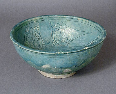 Bowl Iran Bowl, late 12th or early 13th century Ceramic; Vessel, Fritware, incised and glazed, 4 x 9 in. (10.16 x 22.86 cm) Museum Acquisition Fund (M.68.37.4) Art of the Middle East: Islamic Department.