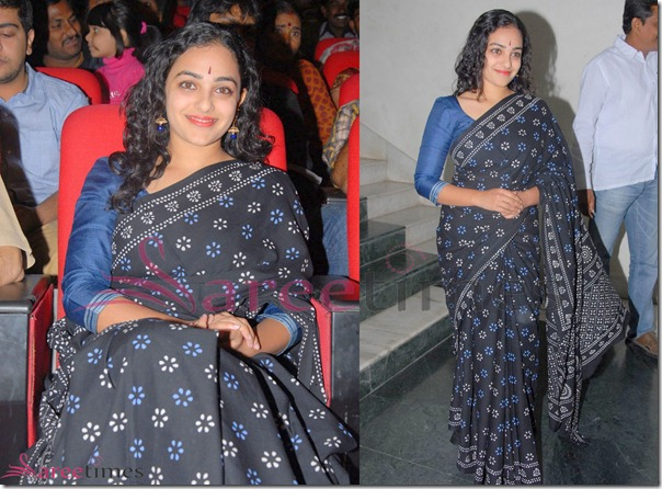 Nithya_Menon_Black_Saree