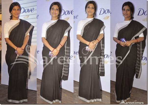 Konkana_Sen_Black_Plain_Saree