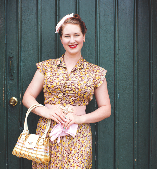 A polished 1940s make up look with a neat curled updo | Lavender & Twill