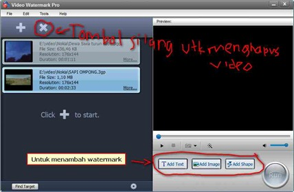 Pilihan watermark dan tombol delete Video Watermark Pro