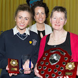 Gillian Marley, Student of the Year 2014 with Fiona Temple Principal and  Bernie Marley at the Mulroy College prize giving on Thursday night last. Photo Clive Wasson.