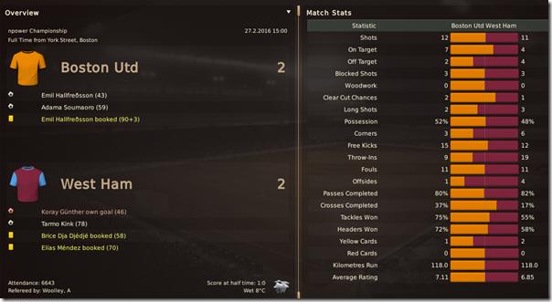 Boston United - West Ham 2:2