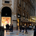 caught some action in this panorama of Galleria Vittorio Emanuele II in Milan, Milano, Italy