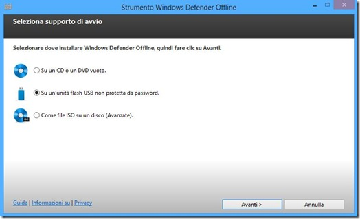Windows Defender Offline installazione su USB o CD/DVD