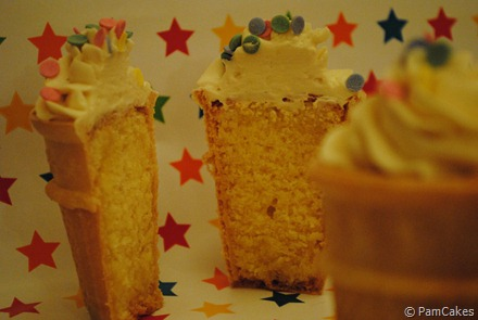 Corte cupcakes de helado