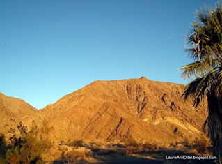 Sunrise hits the mountains as Borrego