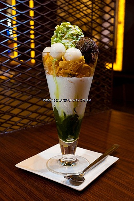 Nana's Green Tea Cafe favourite, Matcha Shiratama Parfait Japanese Kanten Sweet Herbal Jelly, soft serve vanilla ice cream, crispy cornflakes chunky red bean paste, QQ Japanese mochi glutinous balls, smooth creamy Matcha