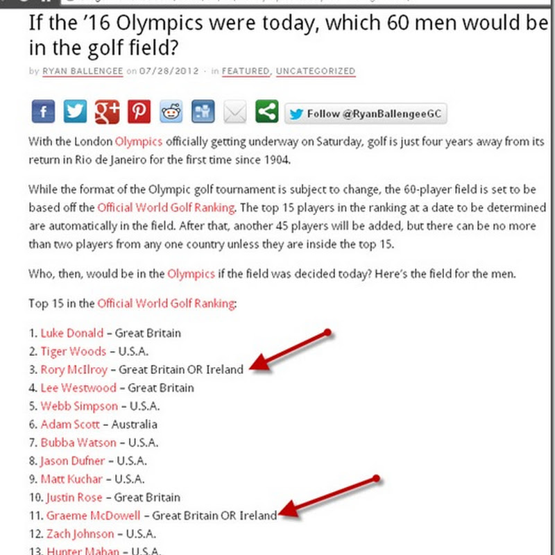If The 2016 Olympic Golf Event Was Today and if Rory McIlory Was Team GB OR Ireland!