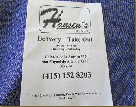 Hansen's menu 001