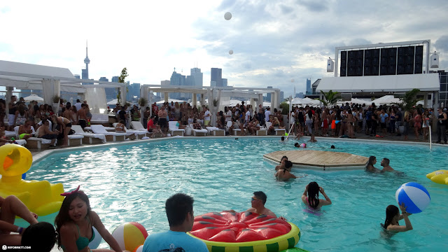Cabana pool bar on a beauitful Sunday in Toronto, Ontario, Canada