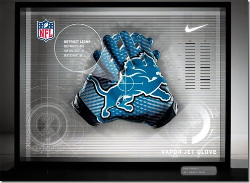 The Detroit Lions' Nike Pro Bowl Vapor Jet gloves