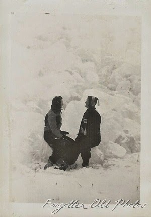 Two gals near snowbank DL ant