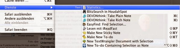 Safari Markierter Text Dienste