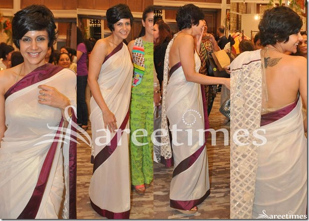 Mandira_Bedi_White_Georgette_Saree