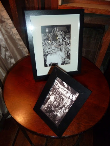 Black and white photos of New Year's Eves of yore were framed and displayed near the lounge area.