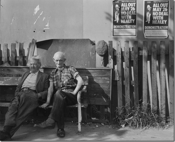 two men on a bench, wallsend, tyneside 1975
