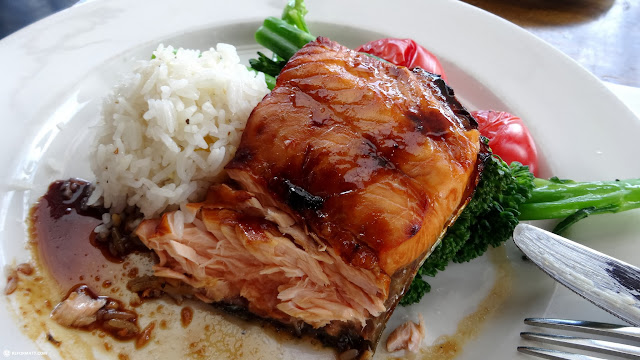 grilled salmon on rice at the SandBar on Granville Island, Vancouver in Vancouver, British Columbia, Canada