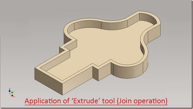 Application of 'Extrude' tool (Join operation)