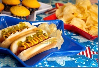 7132088-hot-dogs-and-cornbread-on-4th-of-july-in-patriotic-theme