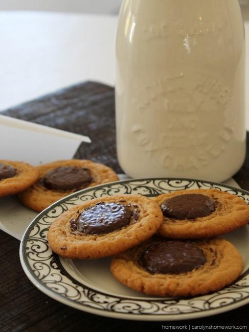 Peanut Butter Chocolate Button Cookies via homework - carolynshomework (5)