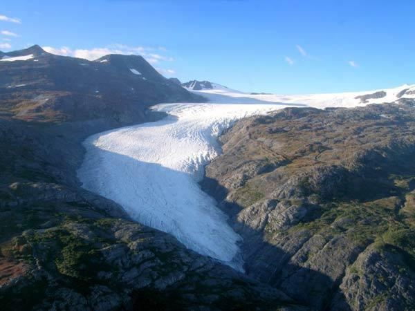 The Wolverine Glacier, near Alaska's south-central coastline, in a photograph from Sept. 2003. A new study determined the total volume of ice tied up in the glaciers worldwide. LiveScience.com