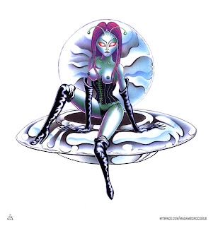 """Space Vixen,"" Airbrush on Posterboard, 2000 http://normal.bz/print-shop/"