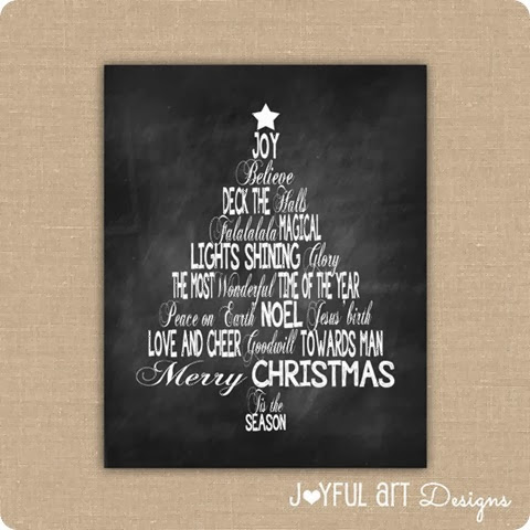 Christmas words ETSY Listing