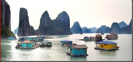 Village in the Halong Bay