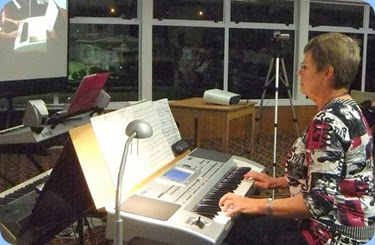 Pam Rea playing her Korg Pa80. Photo courtesy of Dennis Lyons.