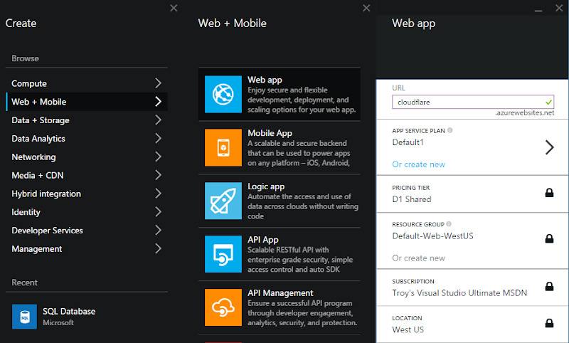 Creating a new Azure web app in the portal