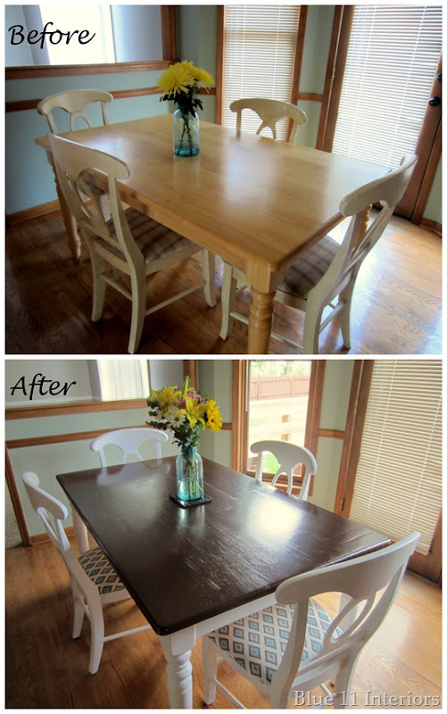 Blue 11 Interiors Dining Room Table and Chairs Makeover : Table before and afterthumb3 from blue11interiors.blogspot.com size 501 x 800 jpeg 113kB
