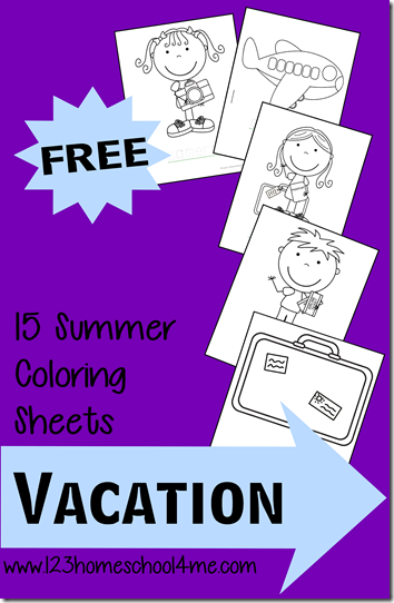 FREE coloring pages for kids - summer vacation coloring sheets are a great toddler and preschool kids activity.