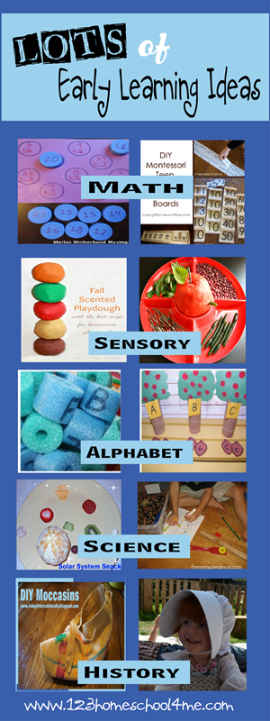 lots of early learning ideas for homeschool and preschool
