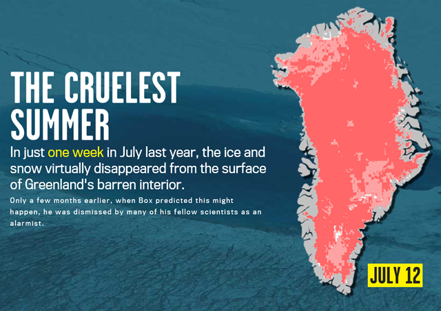 In just one week in July 2012, the ice and snow virtually disappeared from the surface of Greenland's barren interior. Graphic: Rolling Stone