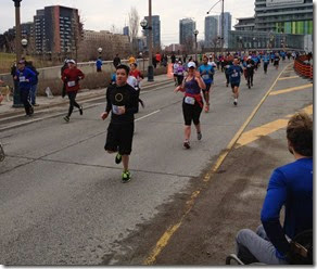 Yonge Street 10k - Look at me go! Photo courtesy of Linda